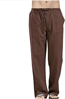 Unisex Linen Lounge Pants with Drawstring Pockets Loose Fit Lightweight Yoga Trousers Comfy Beach Bottoms Holiday Casual