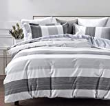 SLEEPBELLA Cotton Duvet Cover Striped Queen Size, Black and White Bedding Comforter Cover Set King with Button Closure 3pcs