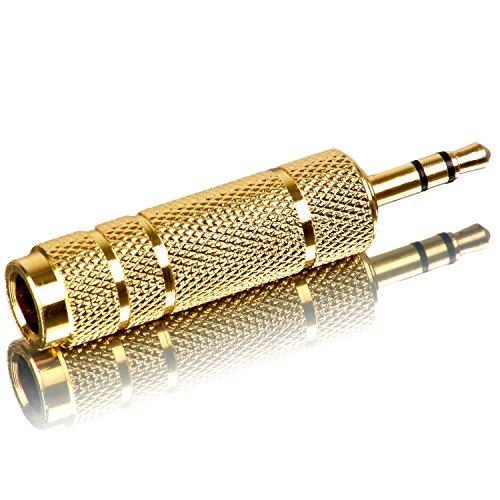 Movoja 6,35 mm auf 3,5mm Stereo Adapter | Audio Umwandler Converter für Kopfhörer oder Lautsprecher | Ohne Kabel | 6,3 auf Aux Klinke | Gold