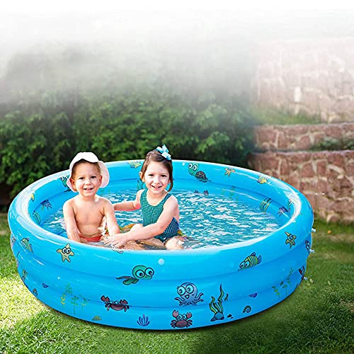 HUA JIE Piscina Hinchable Infantil, Piscina de Agua para Niños con Base Hinchable, Material Plástico de PVC, Piscina de Jardín Interior al Aire Libre, Fiesta de Agua de Verano 130 CM