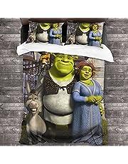 SHR-ek påslakanset, mjuk mikrofiber populära filmtema mode, 3D-tryck, sängkläder set, 1 påslakan, 2 örngott, full storlek (Shrek1, 155 x 220 cm 50 x 75 cm x 2)