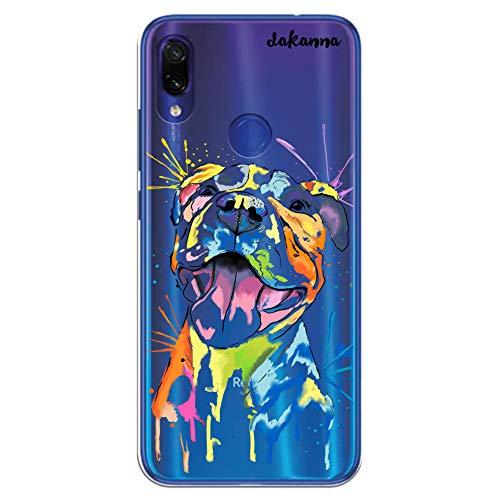 dakanna Funda para Xiaomi Redmi Note 7   Perro Pitbull Watercolor   Carcasa de Gel Silicona Flexible   Fondo Transparente