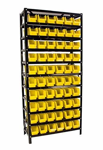 Steel Dragon Tools TLPB60 60 Parts Bin Shelving Organize with Plastic Bins for Garage, Shop, and Home Storage