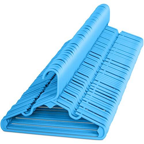 Sharpty - Perchas de plástico para niños, ideales para uso diario estándar, color azul, 60 unidades