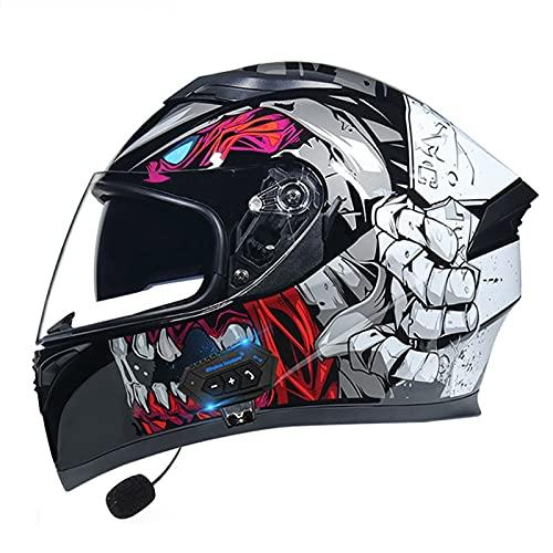 Cascos Bluetooth para motocicleta, casco modular de cara completa, casco modular con doble visera Bluetooth, casco Mp3 respuesta automática ECE/DOT aprobado (color: F)
