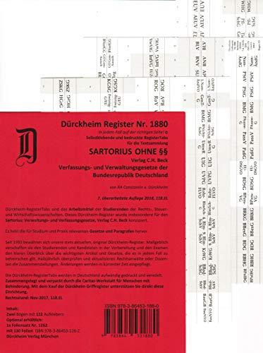 DürckheimRegister SARTORIUS 1 OHNE §§ (2020): 128 Registeretiketten (sog. Griffregister) für deinen SARTORIUS, Verfassungs- und Verwaltungsgesetze, ... Paragrafen: GG, BauGB, VwGO, VwVfG usw.