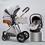 LOXZJYG Cochecito de bebé de Amortiguador Plegable, Cochecito de sillas 3 en 1, Cochecito liviano con Bolsa de mamá y Cubierta de Intemperie, mosquitera (Color : Light Grey, tamaño : B)