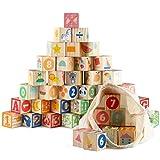 Jacootoys 36 pezzi Blocchi ABC in legno Grandi lettere dell'alfabeto Numero Building Block Set Giocattoli educativi Montessori per bambini