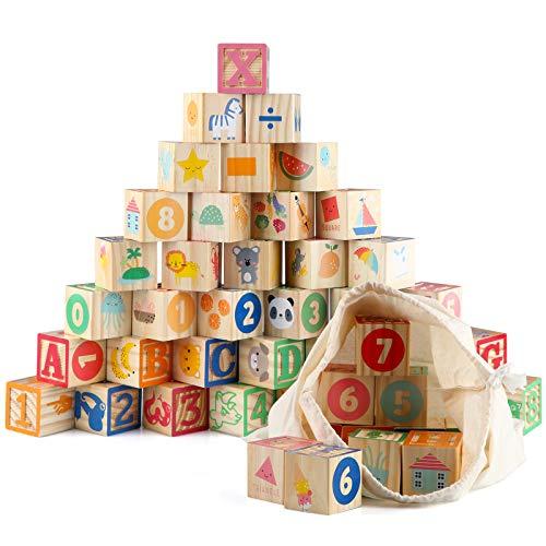 Jacootoys 36 Uds Bloques ABC de Madera Extra Grande Letras del Alfabeto Juego de Construcción Montessori Juguetes Educativos para Niños