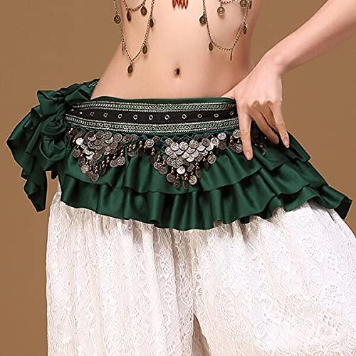 juntao Ropa tribal de danza de vientre gitano, accesorios de traje de franja para monedas retro, cinturón de cadera para danza del vientre (color : Atrovirens)