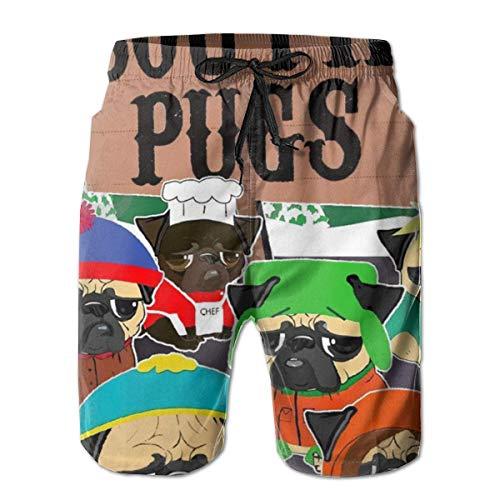 South Pugs Funny Men Boys Beach Board Shorts con cordón Ajustable Pantalones Cortos Deportivos de Secado rápido Pantalones Cortos de Playa de Verano XXL