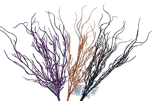14 Inch Glittery Halloween Branches Purple Orange and Black (Set of 3)