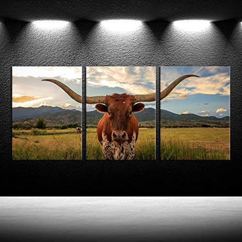 iKNOW FOTO 3 Piece Highland Cow Canvas Wall Art Prints Texas Longhorn Photo Contemporary Paintings Farm Animals Pictures Home Decoration Giclee Artwork Wood Frame Gallery Wrapped Ready to Hang 12x16x3