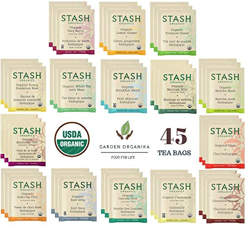 Stash Organic Tea Bags Sampler Gift Set - 45 Count, 15 Flavors