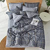 羽毛布団カバーセット3ピース、シングルダブルキング寝具セットマイクロファイバーモダンチェック柄ストライプソフト羽毛布団セット、ジッパークロージャーキルトケースと2つの枕カバー(ネイビーブルー、135x200cm)