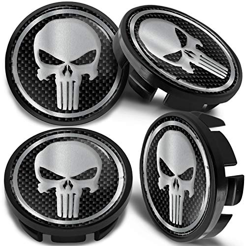 SkinoEu 4 x 65mm Tapas de Rueda de Centro Centrales Llantas Aluminio Compatibles con Tapacubos Número de Pieza 3B7601171 / 6U7601171 Negro Plata Cráneo CV 36