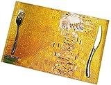 LLDKA Set di 6 Set da Tavolo per Tavolo da Pranzo, Set da Tavolo Lavabili Antiscivolo Vintage Color Oro
