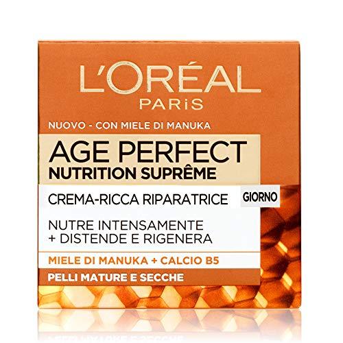 L Oréal Paris Age Perfect Nutrition Supreme Crema Viso Antirughe Riparatrice Giorno, Pelli Mature Secche, 50 ml