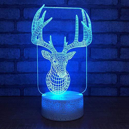 Nachtlampje kleurrijke eland plakken onderaan 3D-lamp LED hertenhoofd nachtlampje USB creatieve Valentijnsdag geschenk 3D-verlichting