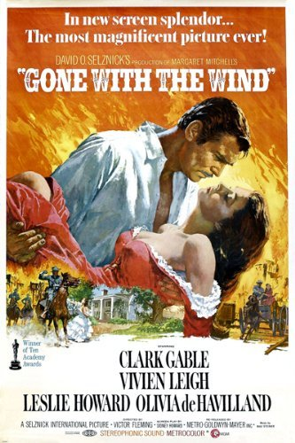 VINTAGE OSCAR GONE with the WIND movie poster clark GABLE vivian LEIGH 24X36 Hot New