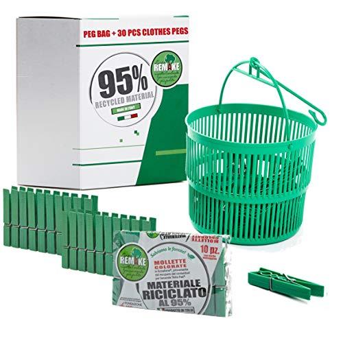 remake Cesta Pinzas Ropa + 30 Pinzas Ropa - 95% Plástico Reciclado. Ideal para lavandería. Fuertes y a Prueba de Viento. Made in Italy