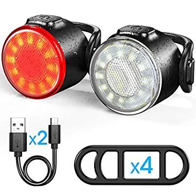 Bike Lights Set, USB Rechargeable Bicycle Safety Lights - Easy to Mount & Remove/6 Modes, Commuting/Road Cycling LED Bike Lights and Taillight - Be Seen for Kids Women Men Bike Lights Front and Back