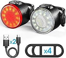 Luces Bicicleta, Luces Delanteras y Traseras Recargables USB Para Bicicleta, Impermeable LED Luz Bicicleta, 6...