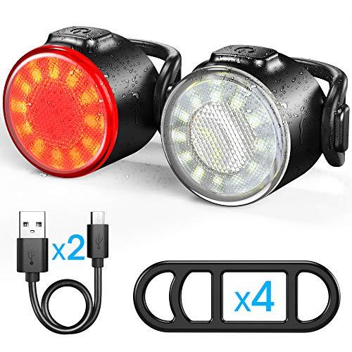 Luces Bicicleta, Luces Delanteras y Traseras Recargables USB Para Bicicleta, Impermeable LED Luz Bicicleta, 6 Iluminación Modos Luz de alerta, Luces Seguridad Para Ciclismo de Montaña y Carretera