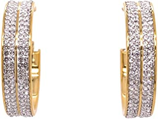 Bevilles Yellow Stainless Steel Pave Crystal Hoop Earrings