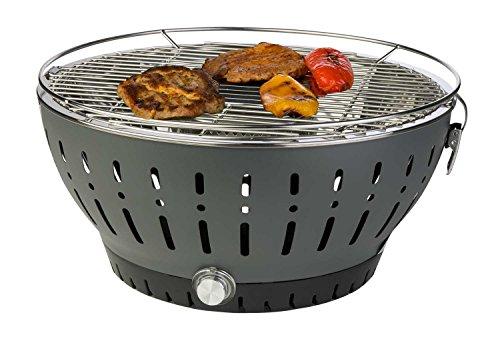 Holzkohlegrill Tischgrill BBQ Grill | Stahl | Dunkelgrau | Grillrost Ø 35 cm | mit Belüftung