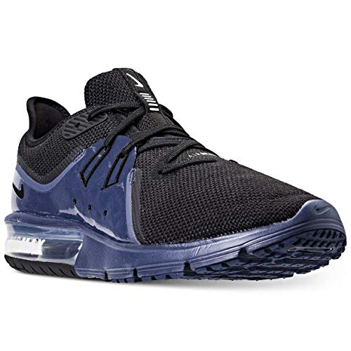 Nike AIR MAX Sequent 3 S Running Shoes (9.5, Black/Black-Navy Blue-White)