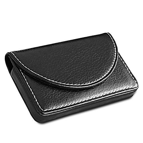 KINGFOM™ Visitenkarten-Etui aus Leder mit magnetischem Verschluss (Schwarz)