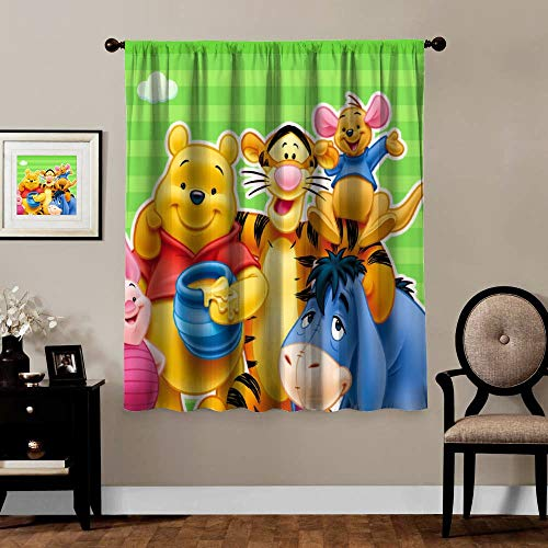Blackout Curtains,Winnie The Pooh Bear Piglet Tiger Eeyore Rabbit, rod pocket Thermal Insulated Darkening window drapes for bedroom, Cute Animal Boys Girls Room Décor, 2 Panels,55x63 inch