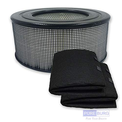 PUREBURG Replacement HEPA Filter and 2 Wrapping Carbon pre-Filters for Honeywell 21500 21600 fit 50150 51500 83330 61500 11500(EV-15) Series,18150 Series, 11520 Series,17200 Series