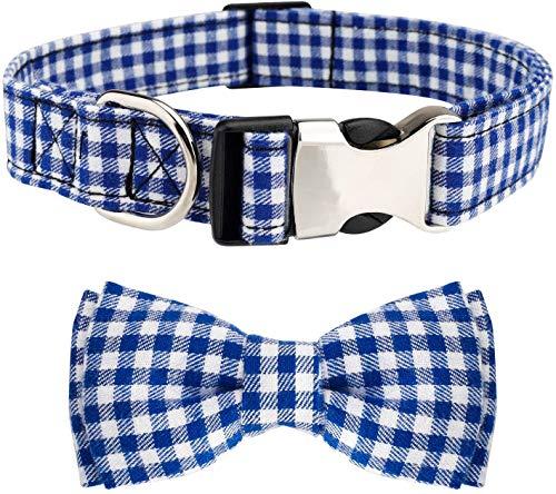 Etechydra Hundehalsband mit Fliege, Langlebiges Bequemes Baumwolle Halsband mit Metall Steckverschluss für Hunde und Katzen, Hundehalsband Blau L