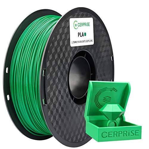 CERPRiSE Filamento PLA 1,75 mm, filamento PLA per stampa 3D per stampanti 3D, rocchetto 1 kg 1,verde
