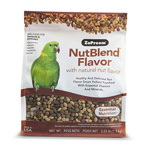ZuPreem NutBlend Smart Pellets Bird Food for Parrots and Conures - Made in The USA, Daily Nutrition, Vitamins, Minerals for African Greys, Senegals, Amazons, Eclectus, Cockatoos (3.25 lb Bag)
