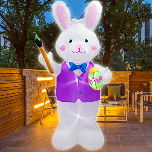 MEJORMEN 7FT Easter Lighted Inflatable Bunny Holding Paintbrush and Egg, Outdoor Indoor Easter Holiday Decorations, with LED Lights Blow up Yard Lawn Inflatables Home Family Outside Decor