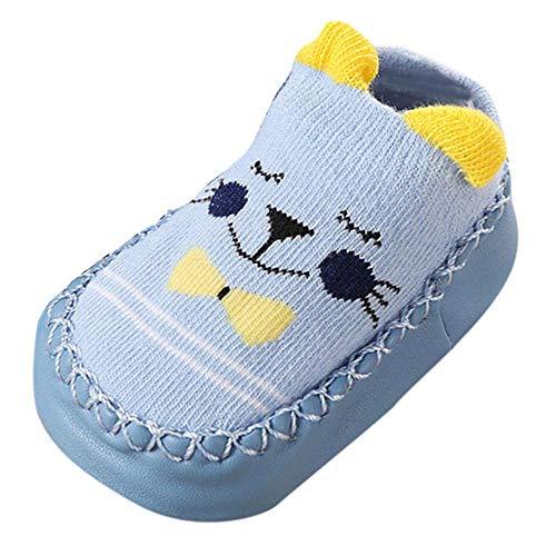 Lenfesh Baby Socken Winter, Baby Junge Mädchen Socken Baumwolle Cartoon Tiere Anti-Rutsch Gestrickt Warm Babysocken Slipper Schuhe Stiefel