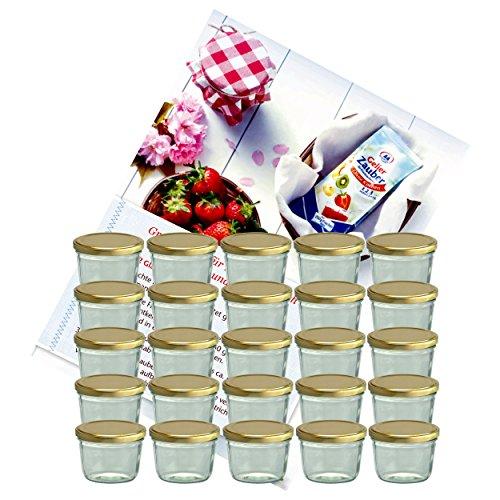 MamboCat 25er Set Sturzglas 230 ml Marmeladenglas Einmachglas Einweckglas to 82 Goldener Deckel incl. Diamant-Zucker Gelierzauber Rezeptheft