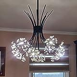 Modern LED Pendant Light, 13-Light Acrylic Circular Chandelier Contemporary Adjustable Hanging Ceiling Pendant Lighting for Living Room Bar Dining Room, 40W 4003K Nature White, Matte Black, Mesh