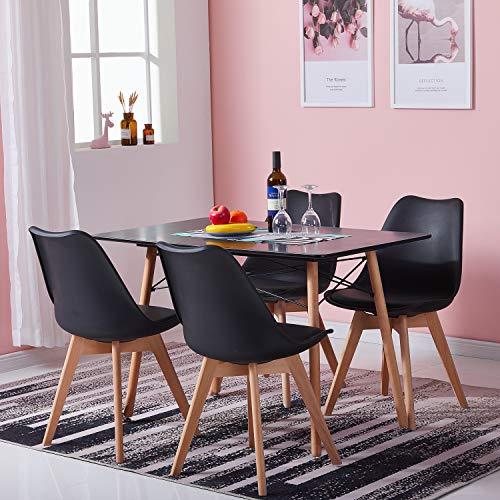 H.J WeDoo Tisch und Stühle Set, Essgruppe Schwarz Tisch mit 4 Schwarz Tulip Stühlen für Esszimmer, Küche & Wohnzimmer