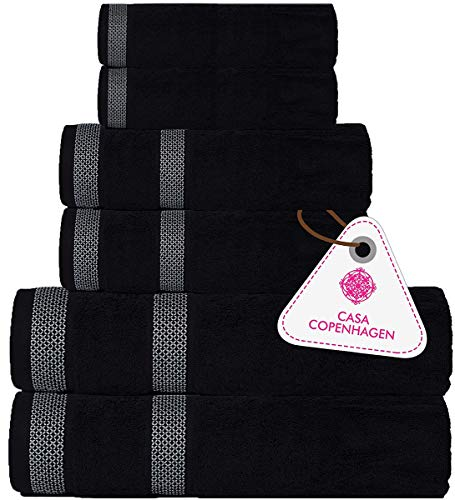 Casa Copenhagen Solitaire , 6 Piece Towel Set, Includes 2 Bath Towels, 2 Hand Towels, 2 Washcloths