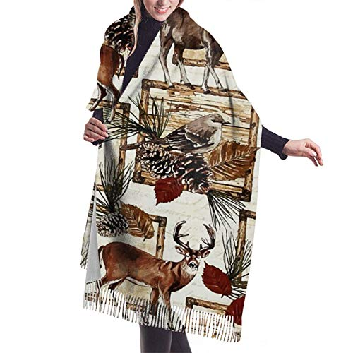 Bufanda larga y cálida y suave Otoño Invierno Abrigo de primavera Pájaro Oso Ciervo en el bosque Chales ligeros y agradables piel Bufandas de cachemira adolescentes adultos