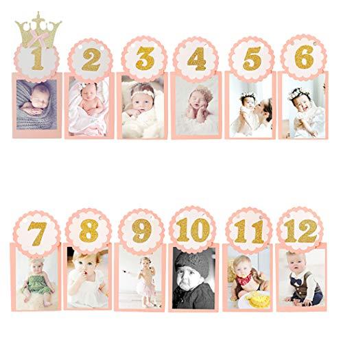 Justdolife Baby Foto Banner Creative DIY 1st verjaardag mooie Party Banner voor 12 maanden roze