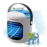 Aire Acondicionado Portatil Mini, Enfriador de Aire Portatil Recargable, 3 en 1 Enfriador de Aire, Ventilador Humidificador, 4pcs Moldes para Cubitos de Hielo, 7 Luces LED, 3 Velocidades, para Hogar