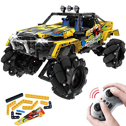 PREBOX Remote Control Building Monster Truck, Birthday Gifts for Boys 8-12 Year Old Off Road STEM Toy RC Car Sets with 4WD 2.4Ghz Strong Servo Motor Huge Tires 1030 Pieces