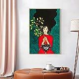 wZUN Cartel Abstracto de la Muchacha de la Vendimia Que sostiene Las Ramas nórdico Arte de la Pared Pintura de la Lona Carteles e Impresiones 60X90 Sin Marco
