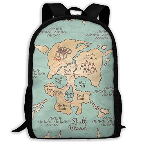 Hui-Shop Mochila de Viaje Mochila para portátil Bolsa de pañales Grande - Mochila de Mapa Pirata Dibujada a Mano Mochila Escolar para Mujeres y Hombres
