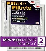 Filtrete UR03-2PK-1E 20x25x1, AC Furnace Air Filter, MPR 1500, Healthy Living Ultra Allergen, 2-Pack, 2 Count